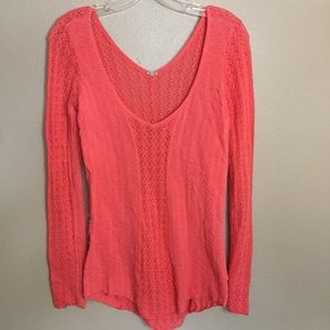 Free People coral open knit sweater size S EUC